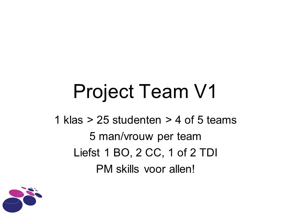 1 klas > 25 studenten > 4 of 5 teams