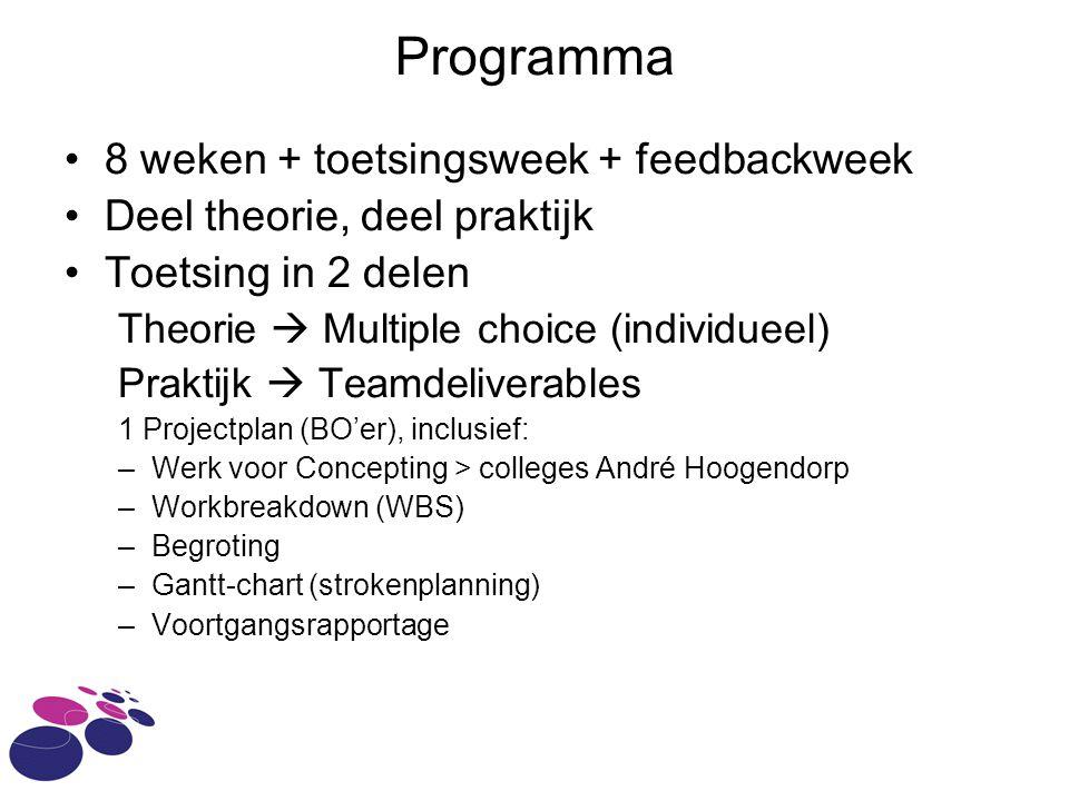Programma 8 weken + toetsingsweek + feedbackweek