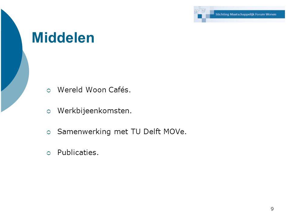 Middelen Wereld Woon Cafés. Werkbijeenkomsten.