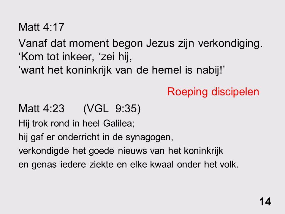 Roeping discipelen Matt 4:17