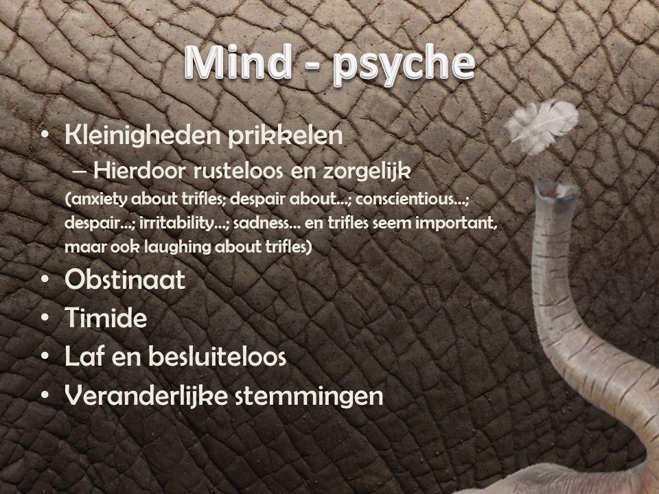 Mind - psyche Kleinigheden prikkelen Obstinaat Timide