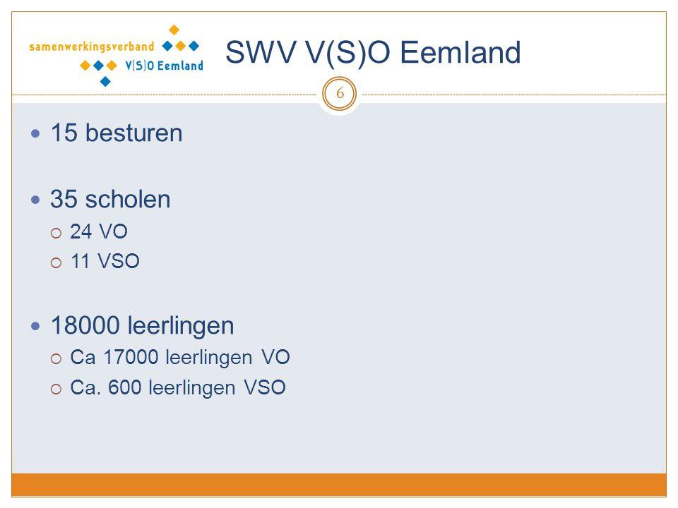 SWV V(S)O Eemland 15 besturen 35 scholen 18000 leerlingen 24 VO 11 VSO