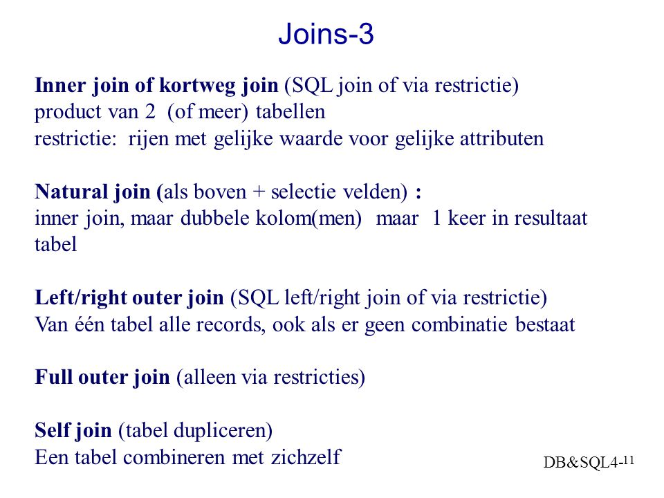 Joins-3 Inner join of kortweg join (SQL join of via restrictie)