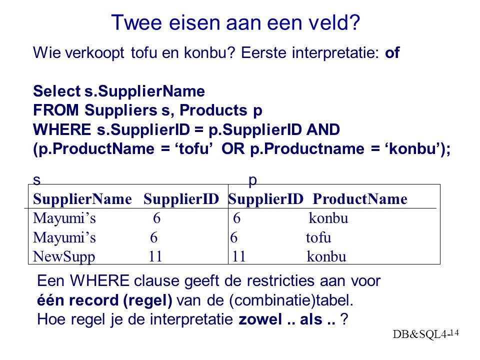Twee eisen aan een veld Wie verkoopt tofu en konbu Eerste interpretatie: of. Select s.SupplierName.