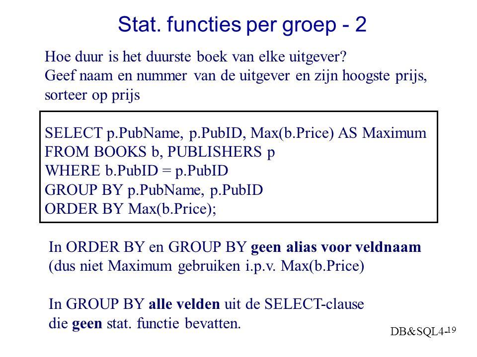 Stat. functies per groep - 2