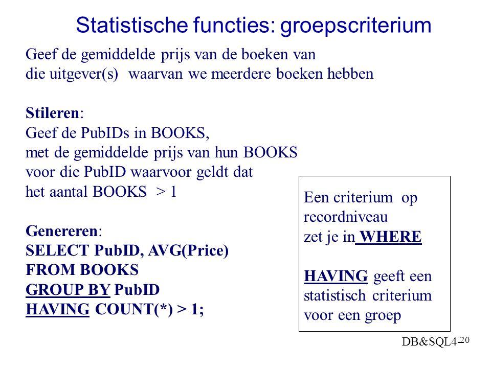 Statistische functies: groepscriterium