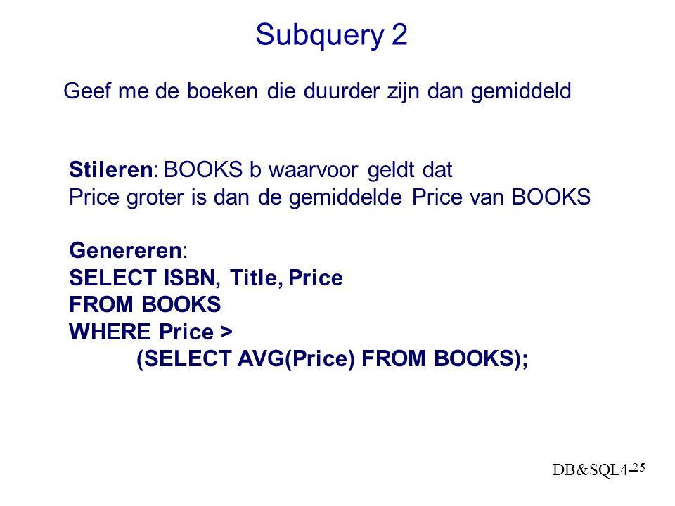 Subquery 2 Geef me de boeken die duurder zijn dan gemiddeld