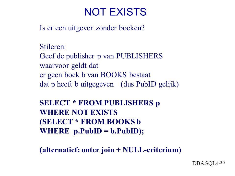 NOT EXISTS Is er een uitgever zonder boeken Stileren: