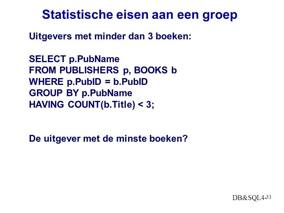 Statistische eisen aan een groep