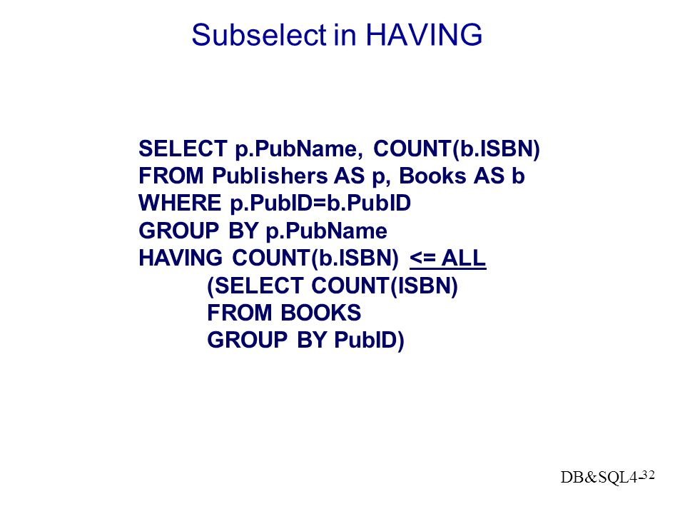 Subselect in HAVING SELECT p.PubName, COUNT(b.ISBN)