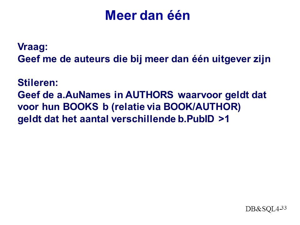 Meer dan één Vraag: Geef me de auteurs die bij meer dan één uitgever zijn. Stileren: Geef de a.AuNames in AUTHORS waarvoor geldt dat.