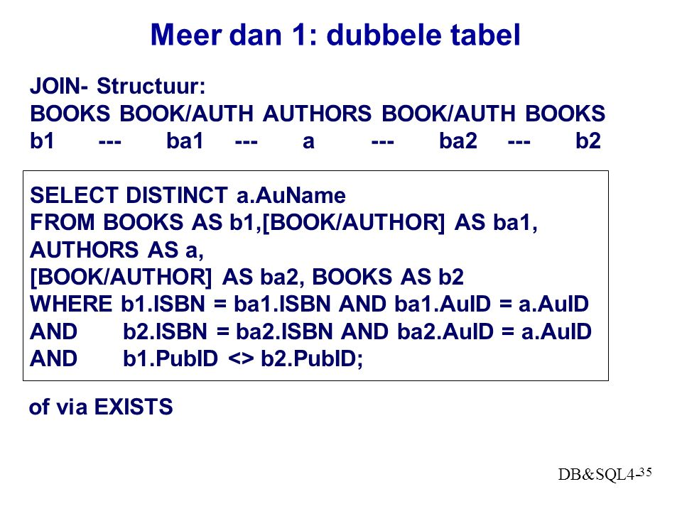 Meer dan 1: dubbele tabel