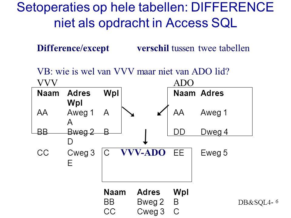 Setoperaties op hele tabellen: DIFFERENCE niet als opdracht in Access SQL