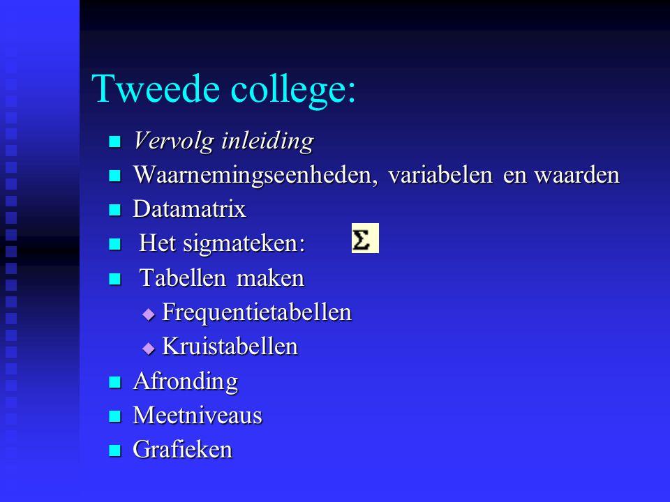 Tweede college: Vervolg inleiding
