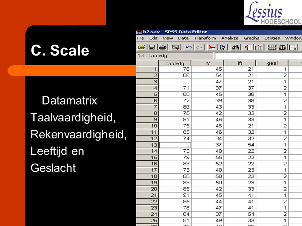C. Scale Datamatrix Taalvaardigheid, Rekenvaardigheid, Leeftijd en