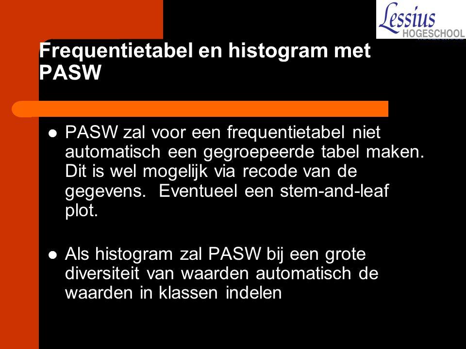 Frequentietabel en histogram met PASW