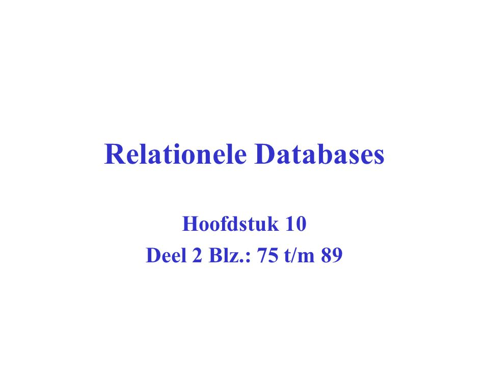 Relationele Databases