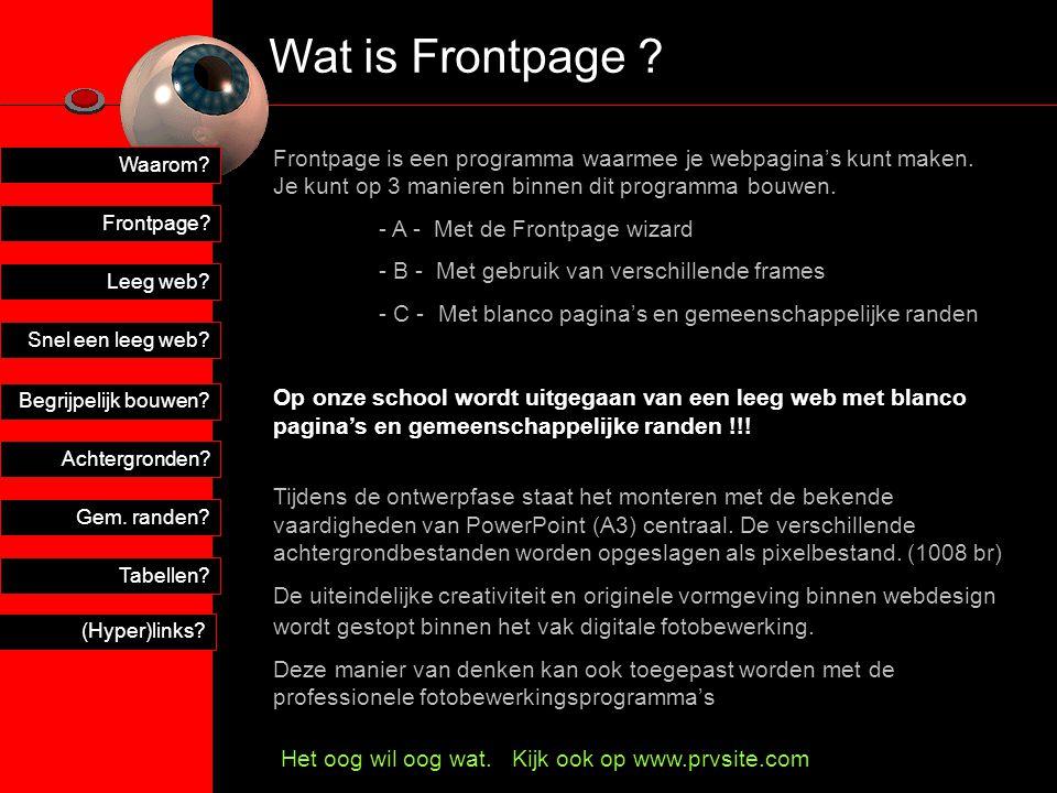 Wat is Frontpage Frontpage is een programma waarmee je webpagina's kunt maken. Je kunt op 3 manieren binnen dit programma bouwen.