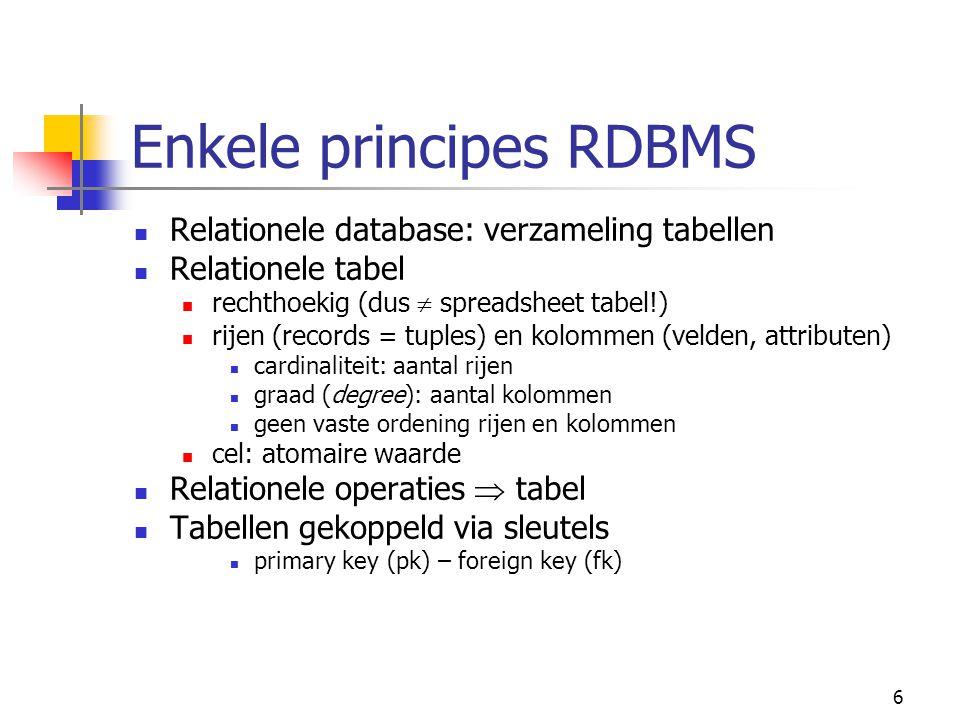 Enkele principes RDBMS