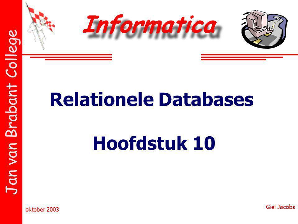 Relationele Databases Hoofdstuk 10