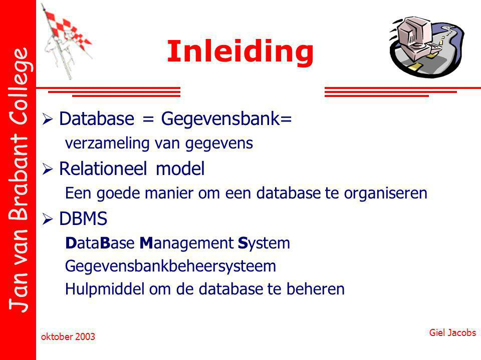 Inleiding Database = Gegevensbank= Relationeel model DBMS