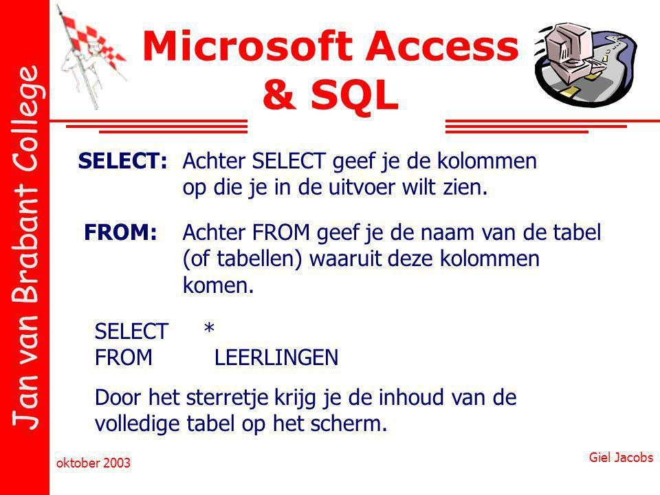 Microsoft Access & SQL SELECT: