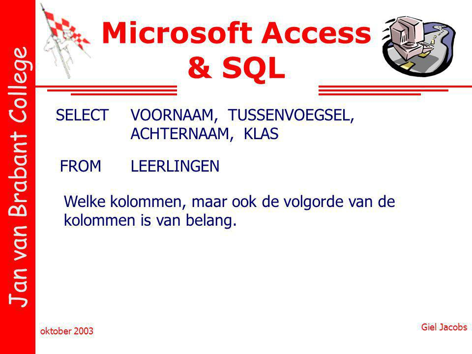Microsoft Access & SQL SELECT