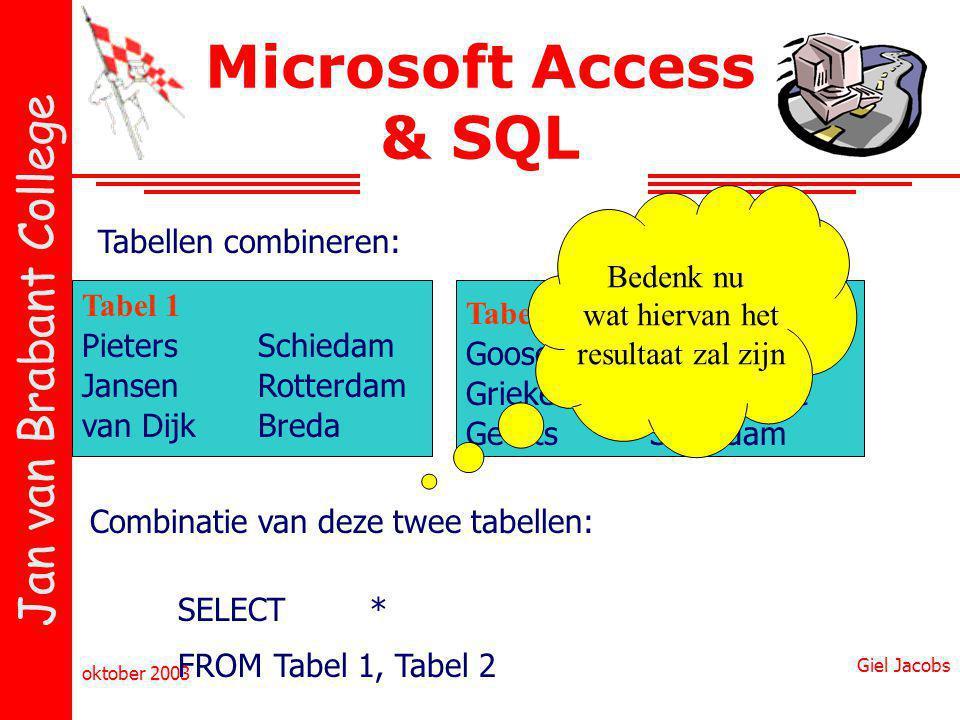 Microsoft Access & SQL Bedenk nu wat hiervan het resultaat zal zijn