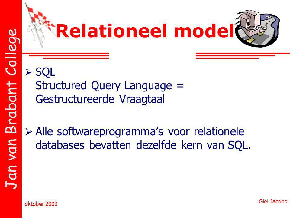 Relationeel model SQL Structured Query Language = Gestructureerde Vraagtaal.