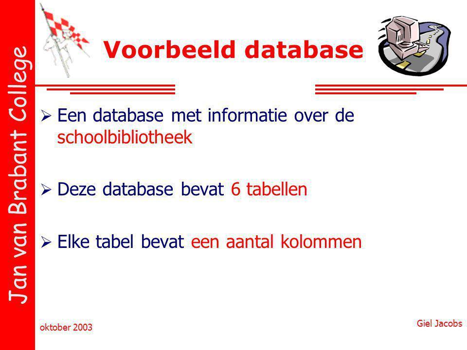Voorbeeld database Een database met informatie over de schoolbibliotheek. Deze database bevat 6 tabellen.