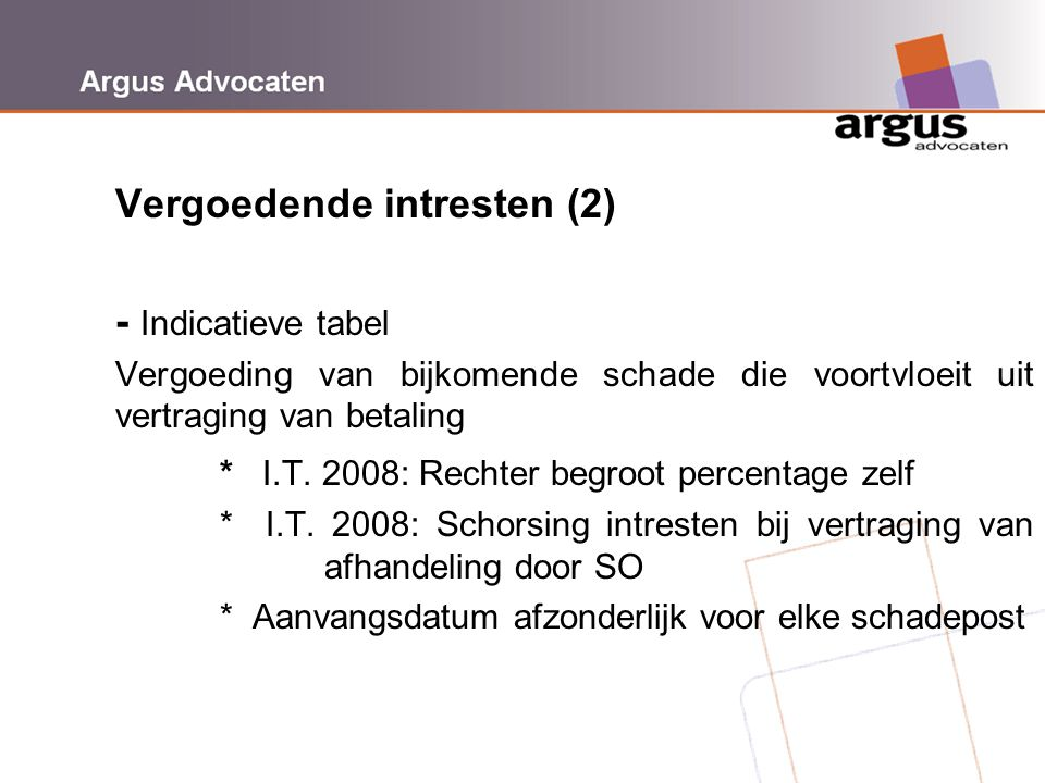 Vergoedende intresten (2) - Indicatieve tabel