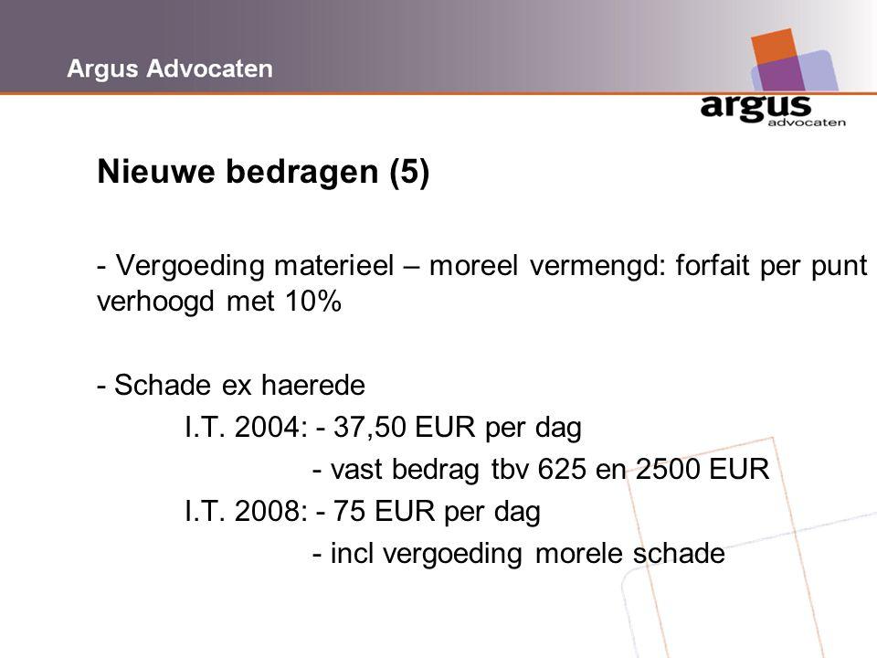 Nieuwe bedragen (5) - Vergoeding materieel – moreel vermengd: forfait per punt verhoogd met 10% - Schade ex haerede.