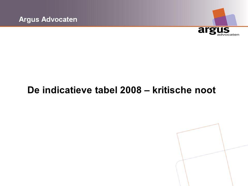 De indicatieve tabel 2008 – kritische noot
