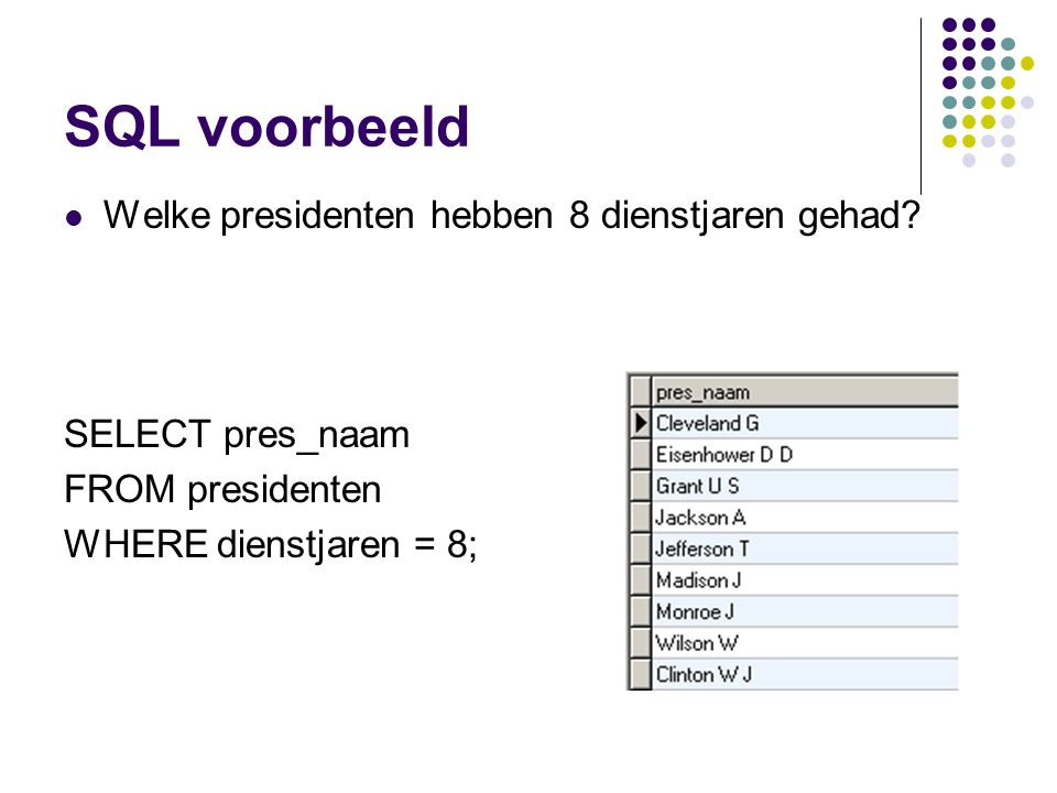 SQL voorbeeld Welke presidenten hebben 8 dienstjaren gehad