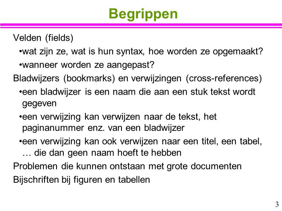 Begrippen Velden (fields)