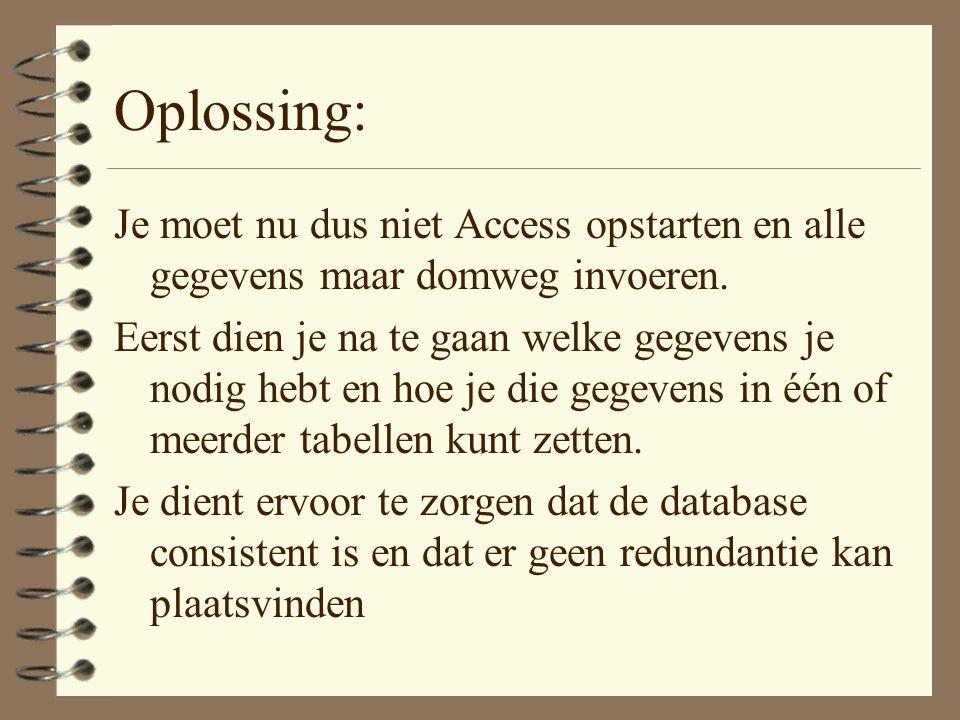 Oplossing: Je moet nu dus niet Access opstarten en alle gegevens maar domweg invoeren.