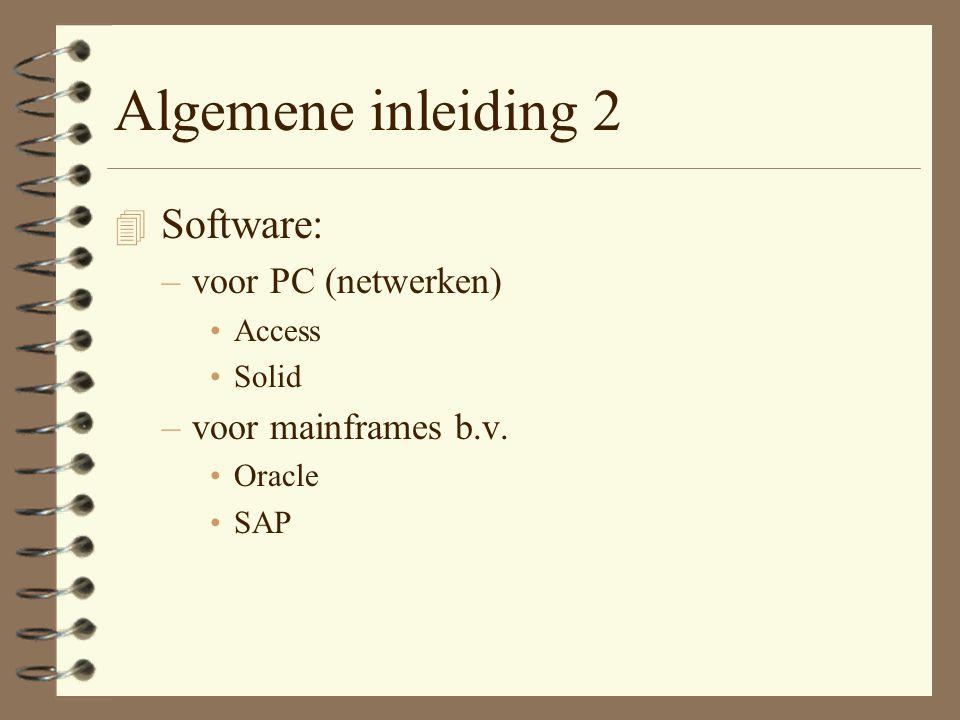 Algemene inleiding 2 Software: voor PC (netwerken)