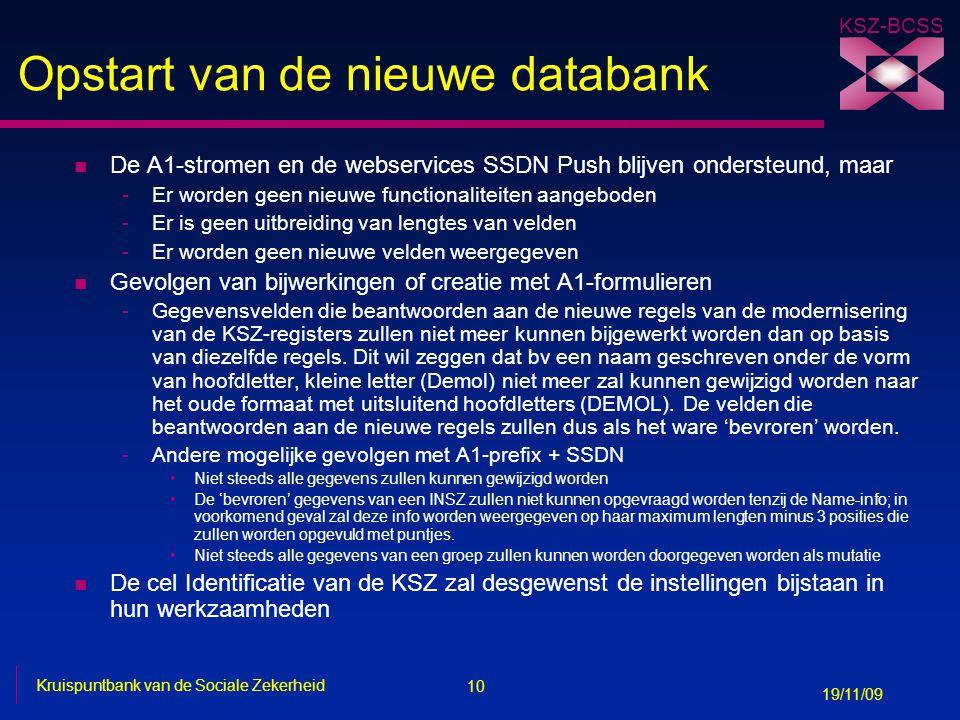Opstart van de nieuwe databank