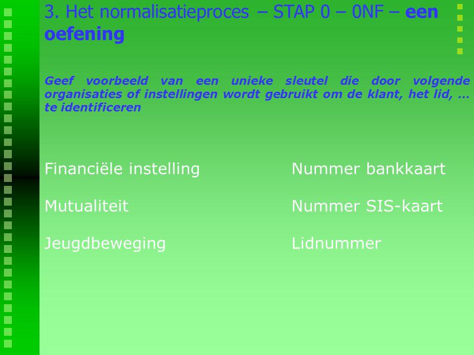 3. Het normalisatieproces – STAP 0 – 0NF – een oefening