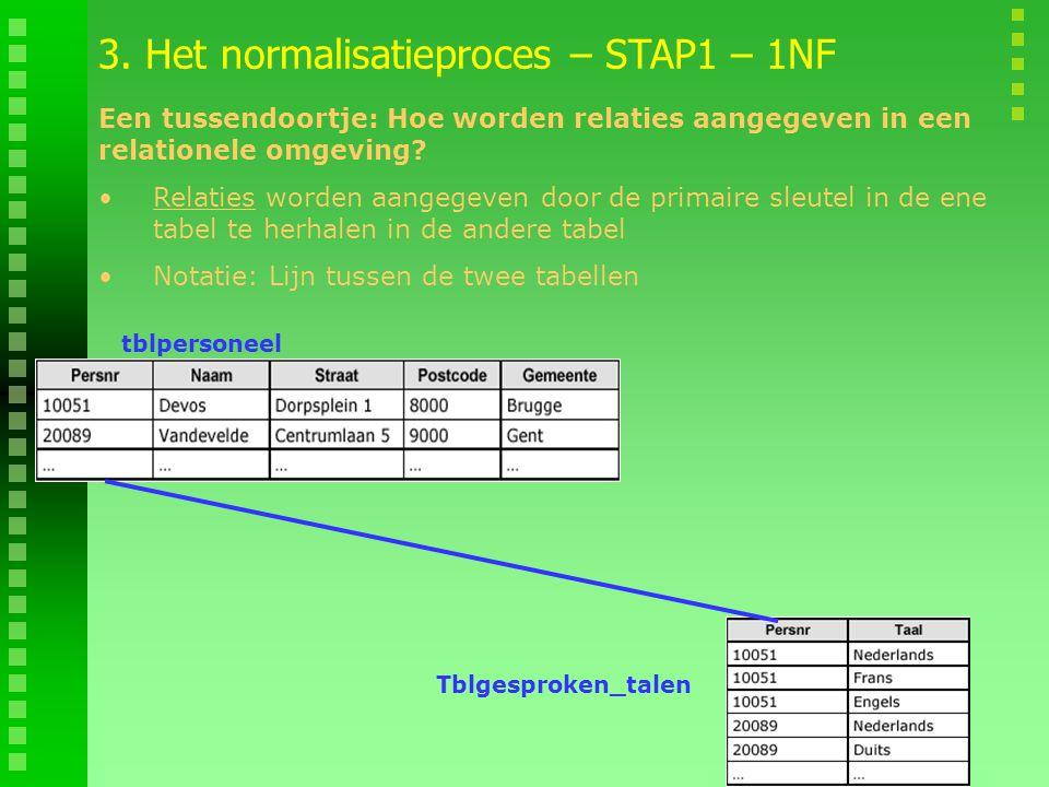3. Het normalisatieproces – STAP1 – 1NF