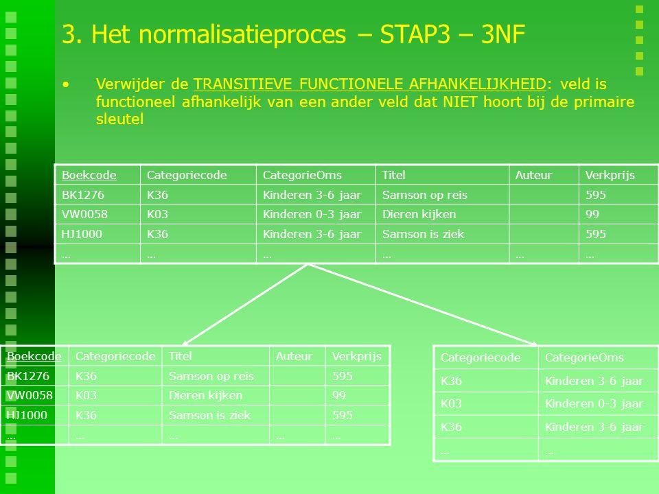 3. Het normalisatieproces – STAP3 – 3NF