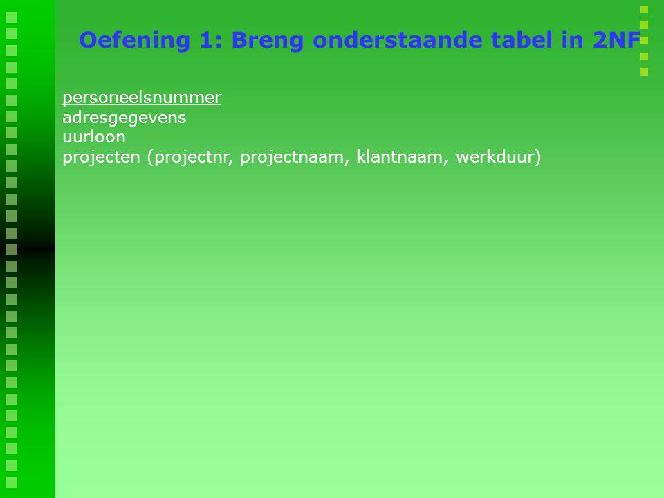 Oefening 1: Breng onderstaande tabel in 2NF
