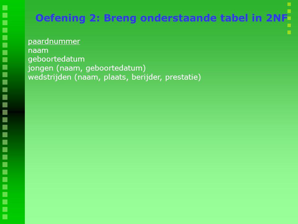 Oefening 2: Breng onderstaande tabel in 2NF