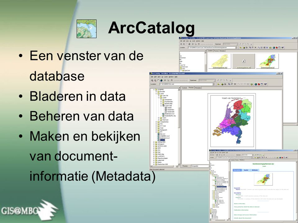 ArcCatalog Een venster van de database Bladeren in data