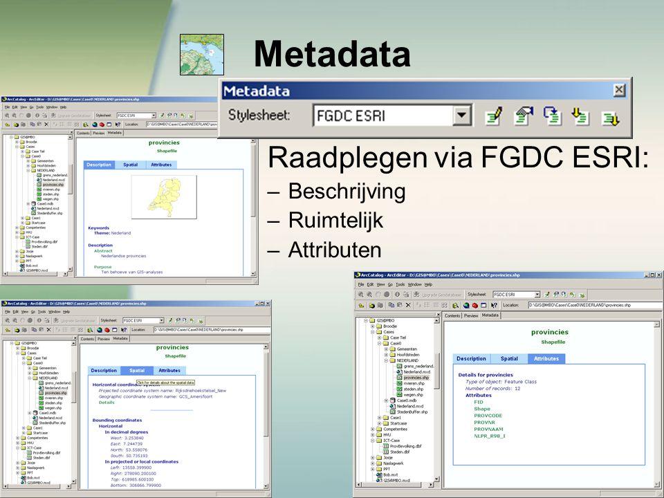 Metadata Raadplegen via FGDC ESRI: Beschrijving Ruimtelijk Attributen