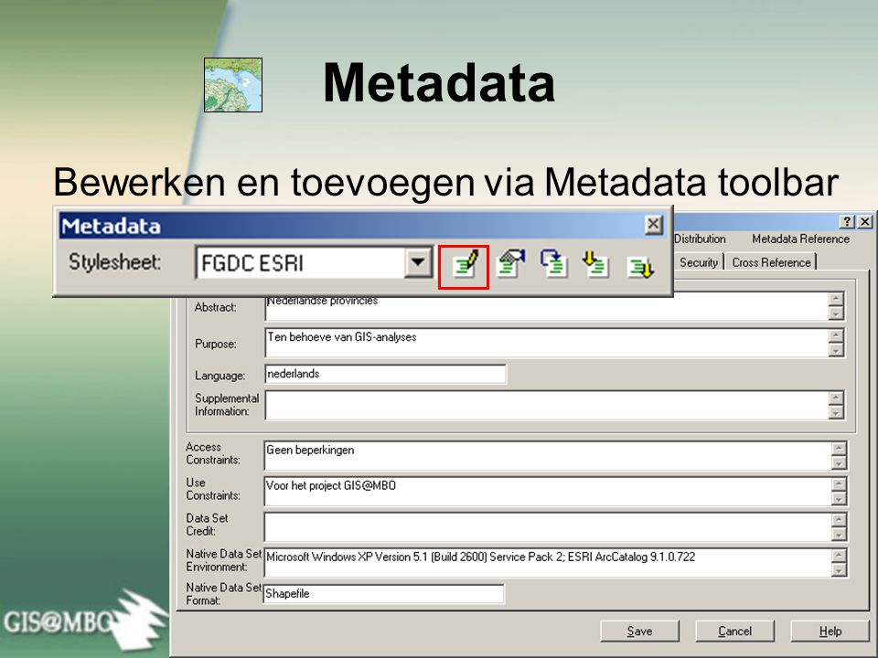 Metadata Bewerken en toevoegen via Metadata toolbar