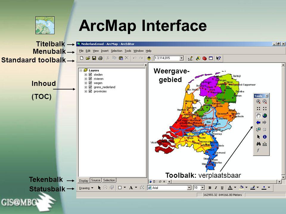ArcMap Interface Weergave-gebied Titelbalk Menubalk Standaard toolbalk