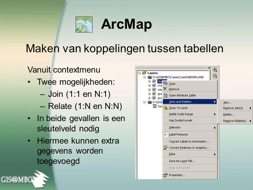 ArcMap Maken van koppelingen tussen tabellen Vanuit contextmenu