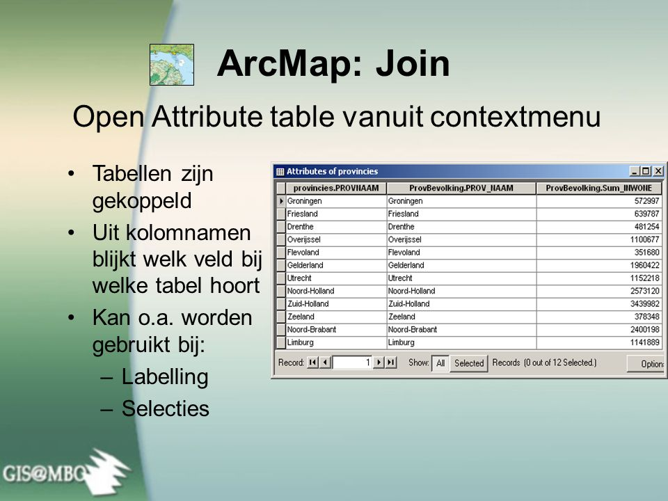 Open Attribute table vanuit contextmenu