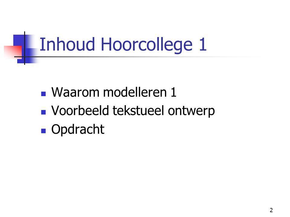Inhoud Hoorcollege 1 Waarom modelleren 1 Voorbeeld tekstueel ontwerp